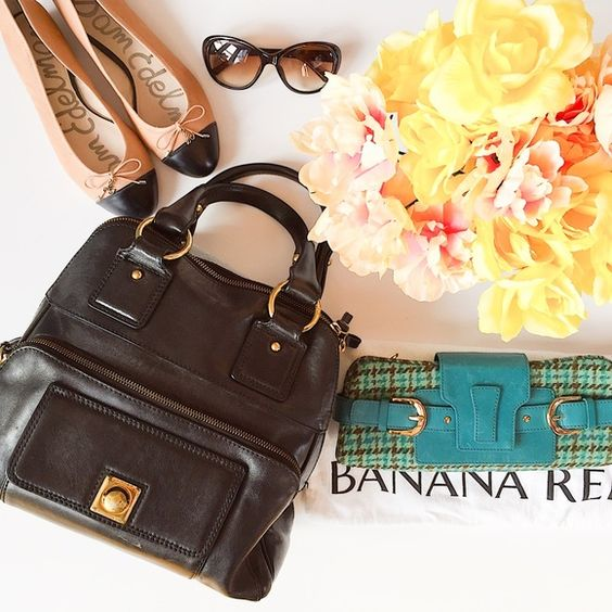 BUNDLE of BANANA REPUBLIC /Bag & Clutch (&dustbag) Large & gorgeous, this black leather bag has 2 outside pockets on the front, 2 open pockets & a zipper pocket inside. Normal wear such as scratches on the gold closure on the front pocket and piping poking thru at bottom of bag. However, this is a hardy & roomy bag (1 of BR's highest quality made bags) made to last.  The like new, tweed clutch is a stunner. No flaws just light wear on the leather in front. Please see the listing of…