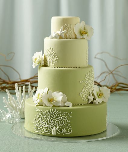 sage green tropical orchid wedding cake