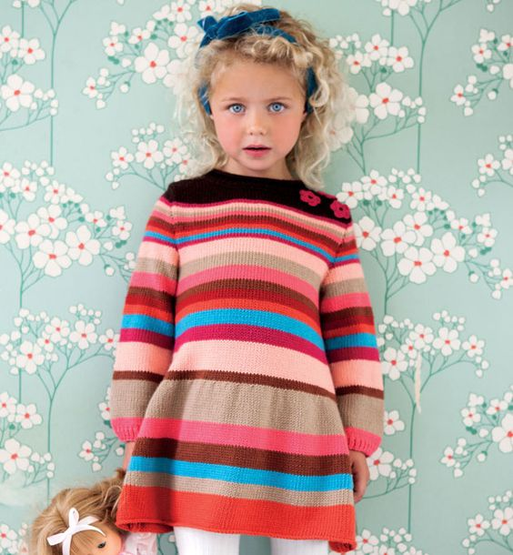 Modèle robe rayée fille - Modèles Enfant - Phildar