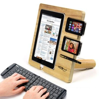 ipad wooden stand. This also makes me wonder: Given That a tablet costs about what a monitor used to cost way back when, how soon will it be before multi-tablet setups are the norm? It would make for some interesting gaming.:
