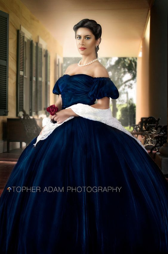 Scarlett O Hara Gone with the Wind Blue Velvet Portrait Gown Dress Costume Adult