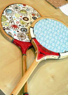 @Rachael Tunbridge . . . recycled tennis racket message boards.