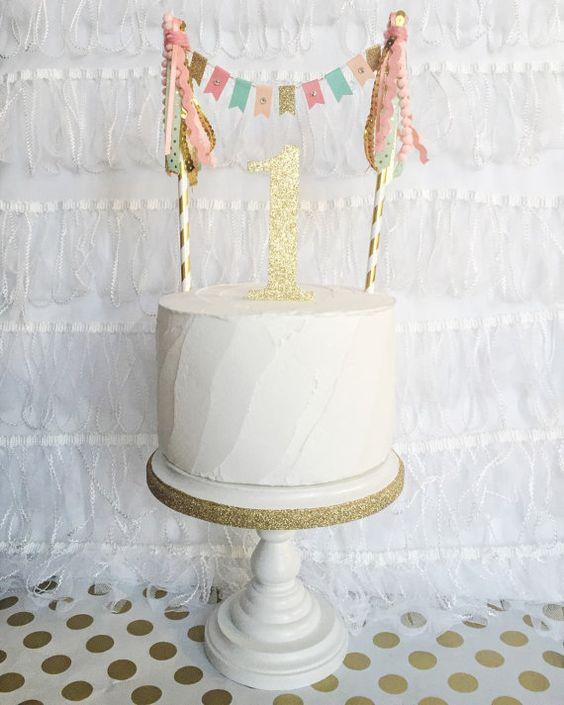Corail pêche menthe or personnalisé personnalisé or scintillant numéro gland bunting bannière topper smash gâteau premier été de décor anniversaire