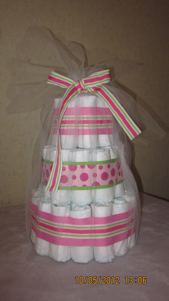 3 Tier Beautiful Pink and Green Diaper Cake by LilLoveDiaperCakes, $25.00