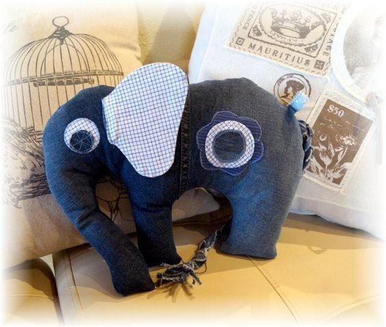 Kuscheltiere - JeansElefant - Unikat - ein Designerstück von AtelierLebensSpuren