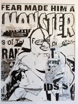 """Fear Made Him A Monster (2006) 27"""" x 36"""" Acrylic and screenprint, edition of 12 Signed by the artist"""