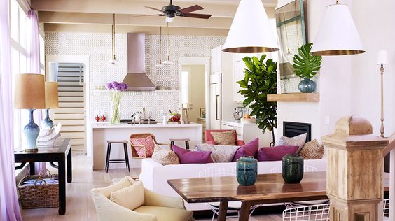 Gorgeous open floor plan, so much color and texture // oak, vintage lamps: Dining Room, Beach House, Livingroom, Living Room, House Idea