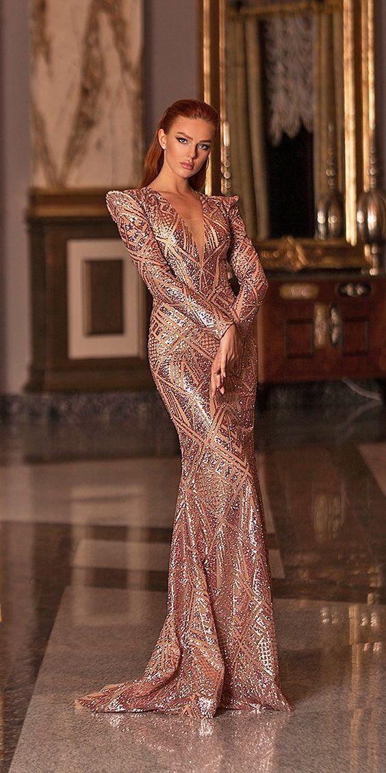 27 Full On Glitz Sequined & Metallic Bridesmaid Dresses ❤  sequined metallic bridesmaid dresses rose gold with long sleeves deep v neckline wona #weddingforward #wedding #bride