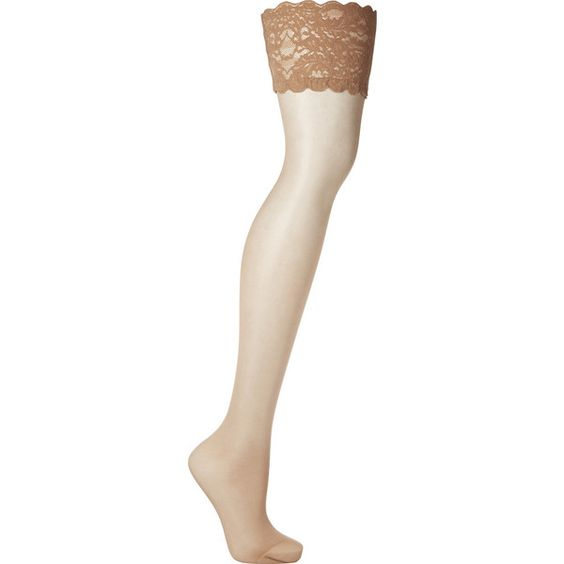 Wolford Satin Touch 20 denier stay-up stockings ($33) ❤ liked on Polyvore featuring intimates, hosiery, tights, socks, neutrals, wolford, wolford stockings, satin tights, wolford hosiery and wolford tights