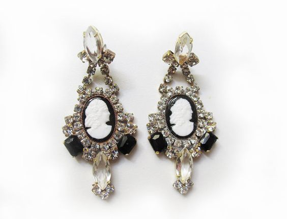 Black and White Cameo Rhinestone Earrings by NotYourStyle on Etsy, $89.00