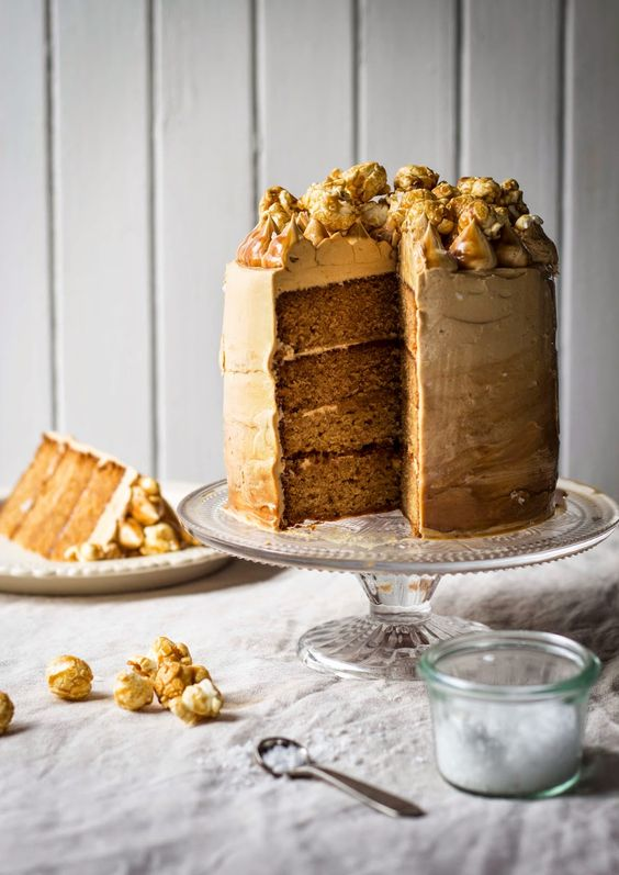 salted caramel coma cake with toffee buttercream & caramel popcorn