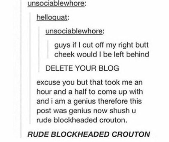 RUDE BLOCKHEADED CROUTON!!!!!!