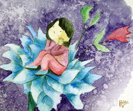Pensando na vida e em voc Thinking about life and you Tcnica Techinic Aquarela Watercolor