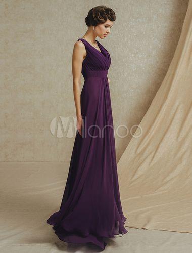 Robe demoiselle d'honneur violette foncée à col V -No.3