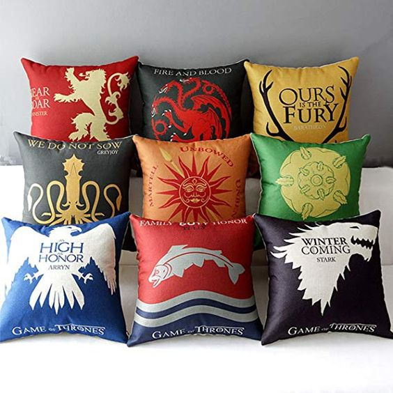 "Amazon.com: TavasDecor 17"" Square Game of Thrones Cotton Linen Home Decorative Throw Pillow Case Cushion Cover - Bundle 9 Pieces One Set: Home & Kitchen"