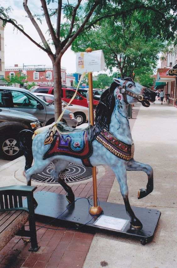 """I painted """"Rose"""" for the """"Prancing Carousels"""" Public Art Exhibit in Lake Geneva, WI benefiting SMILES."""