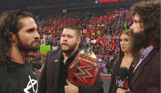 WWE Raw: Seth Rollins, Kevin Owens, Stephanie McMahon, Mick Foley