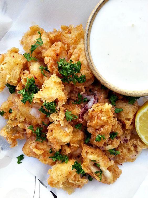 Buttermilk fried calamari with lemon aioli - Cherry on my Sundae