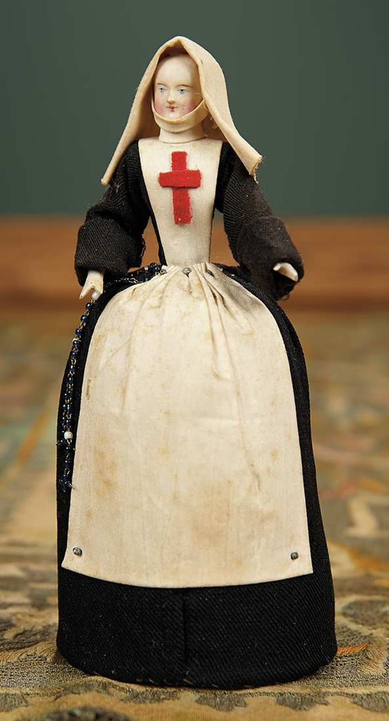 """For the Love of the Ladies"" - October 1-2, 2016 in Phoenix, AZ: 432 Early French Paper Mache Doll in Nursing Costume as Pincushion"