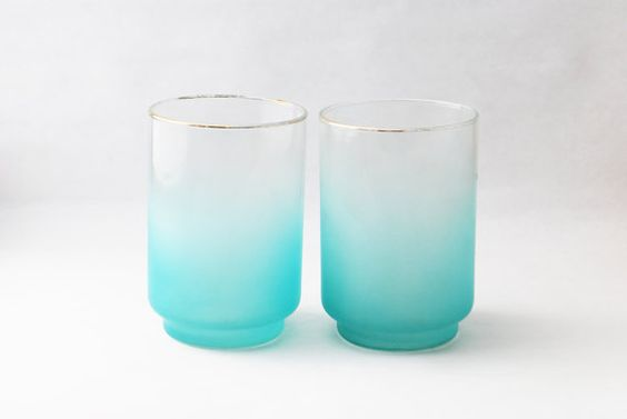 Vintage Blue Ombre Juice Glasses Set of 2  Libbey by copperseal, $16.00