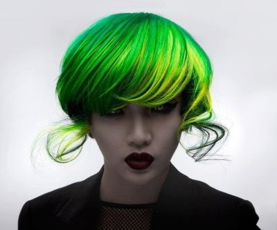Avant-garde electric green bob hairstyle
