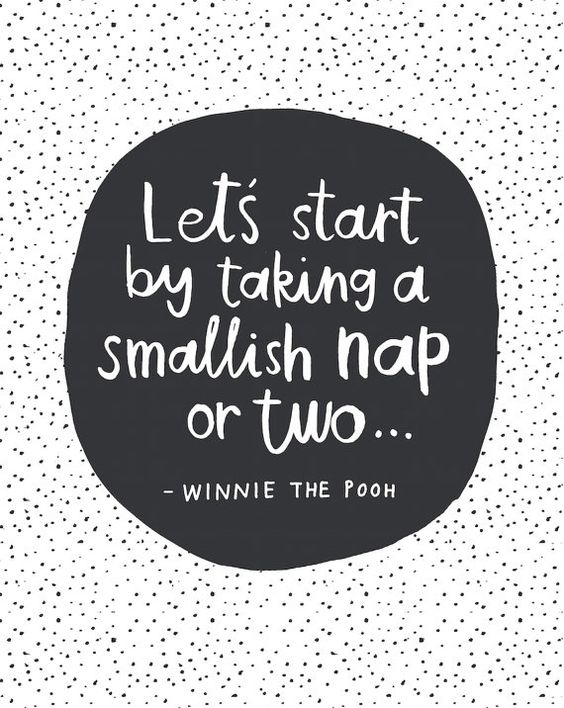 Lets Start With A Smallish Nap or Two... - Winnie The Pooh Quote.  Hand-lettered quote in simple black and white with contemporary spotty: