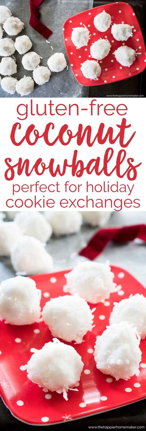 Gluten free Coconut Snowballs are the perfect dessert recipe to take to holiday gift exchanges. Only 3 ingredients and allergy & intolerance friendly. #glutenfree #recipe #dessert