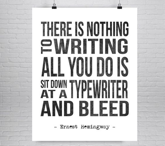 Ernest Hemingway Literatur Zitat Print, Literatur Zitat Poster, Autoren zitieren, Writers Geschenk, Hemingway Schreibmaschine, Literatur Geschenk, buchen
