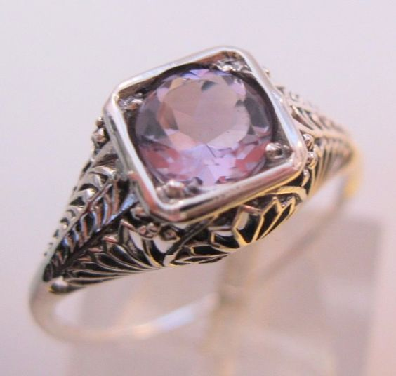 Art Deco 1CT Natural Lavender Amethyst Ring Sterling Silver Edwardian Style Filigree Sz 7 Vintage Jewelry Jewellery FREE SHIPPING by BrightEyesTreasures on Etsy