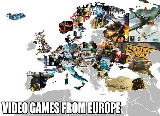 Some of the video games from Europe on a #map