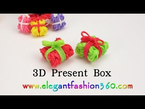 Rainbow Loom Present Box 3D Charms - How to Loom Bands Tutorial Christmas/Holiday/Ornaments - YouTube