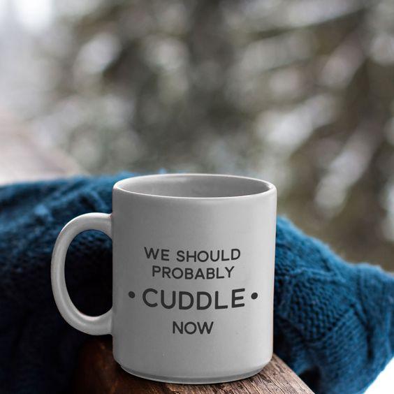 We Should Probably Cuddle Now: Cute Romantic Mug
