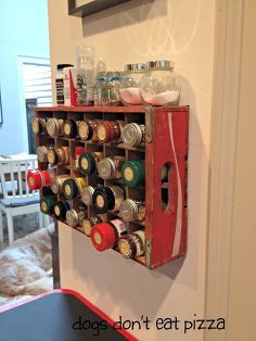 upcycle vintage coke crate spice rack, organizing, storage ideas