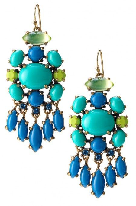 """Dress up or down with the """"must have"""" turquoise & glass stone Aviva chandelier earrings. Find chic fashion bracelets, bangles, cuff & more at Stella & Dot.:"""