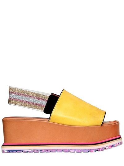 SONIA RYKIEL - 80MM LEATHER & ELASTIC WEDGES - LUISAVIAROMA - LUXURY SHOPPING WORLDWIDE SHIPPING - FLORENCE