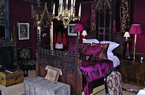 Gothic Victorian Bedroom Ideas With Gothic Purple Bedding Also Framed Pictured And Hanging Candles Also Nighstand With Lamp