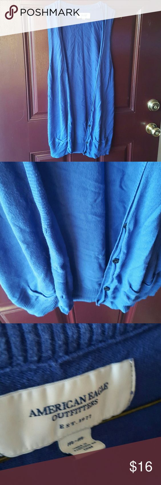 Sleeveless Cardigan EUC- Royal blue American Eagle cardigan. Has buttons and pockets. American Eagle Outfitters Sweaters Cardigans
