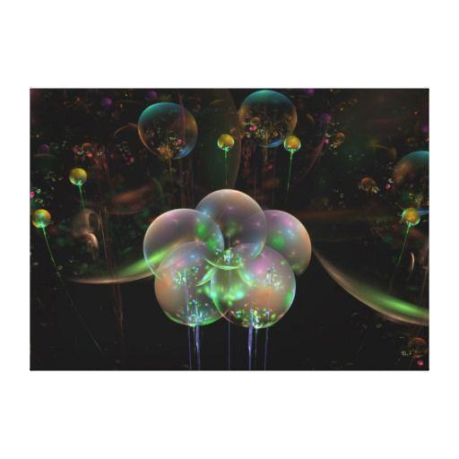"""Flight of Bubbles"" wrapped canvas print. Original art #print"