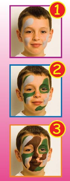 How to apply camouflage face paint.