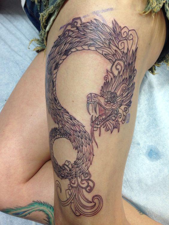 Quetzalcoatl tattoo feathered serpent by juan lira ig for Aztec mural tattoos