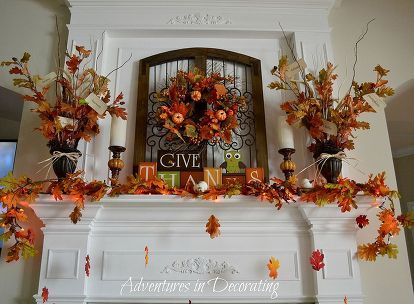 our 2013 fall mantel, seasonal holiday d cor, wreaths, Fishing line came in handy to have a few falling leaves