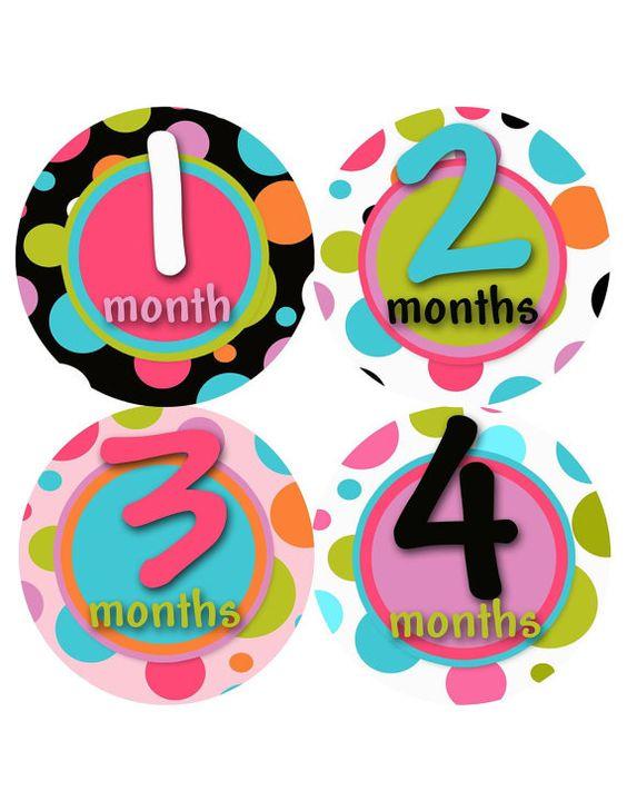 Monthly Baby Onesie StickersBaby Girl polka by PurplePossom, $9.00