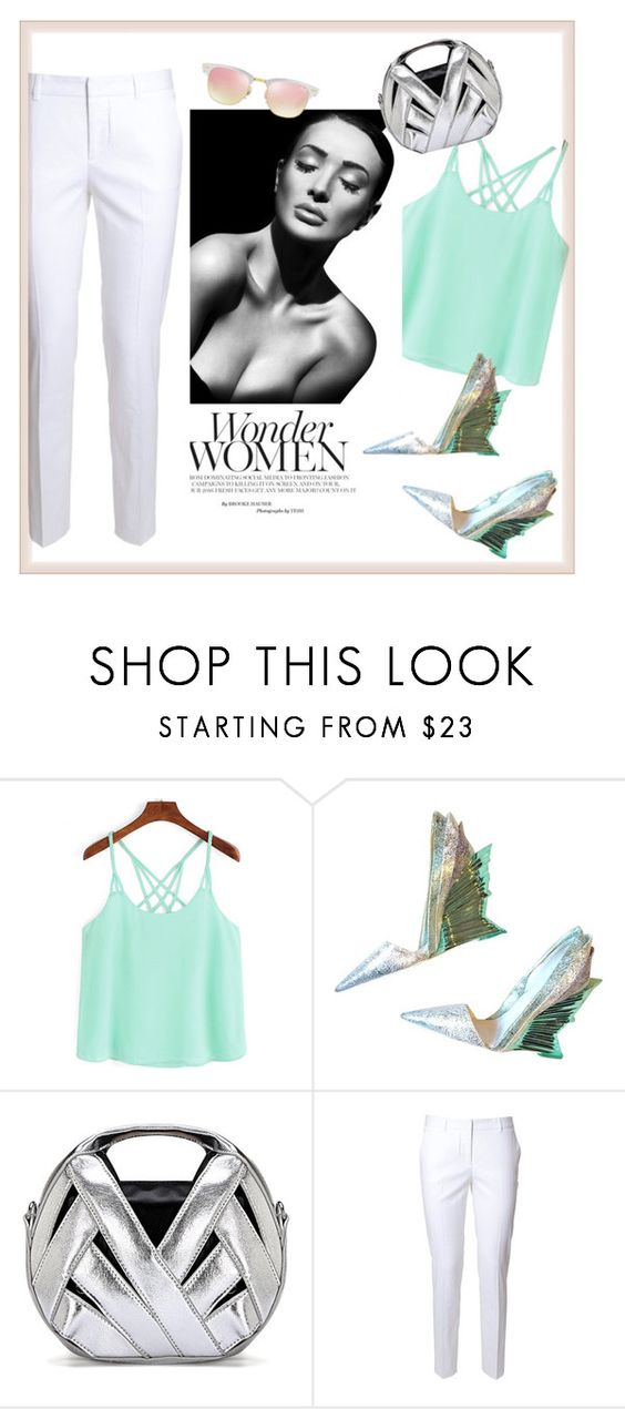 """Mint & white"" by farnazarsalann ❤ liked on Polyvore featuring Christian V Siriano, Alberto Biani and Ray-Ban"