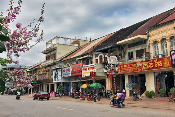 French Colonial Buildings Line the Riverfront Boulevard in Battambang, Cambodia