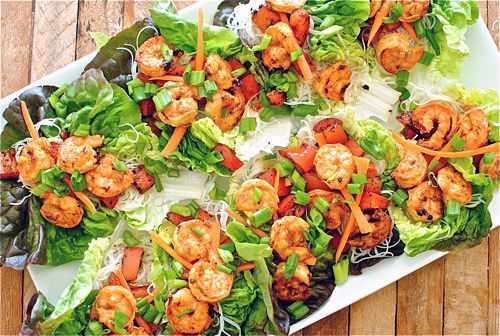 Spicy Asian Shrimp Lettuce Cups