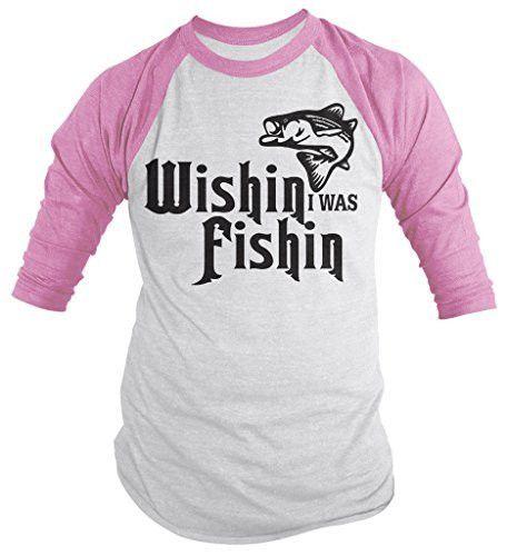 Shirts By Sarah Men's Funny Wishin I Was Fishin Shirt Fishing 3/4 Sleeve Raglan Shirts