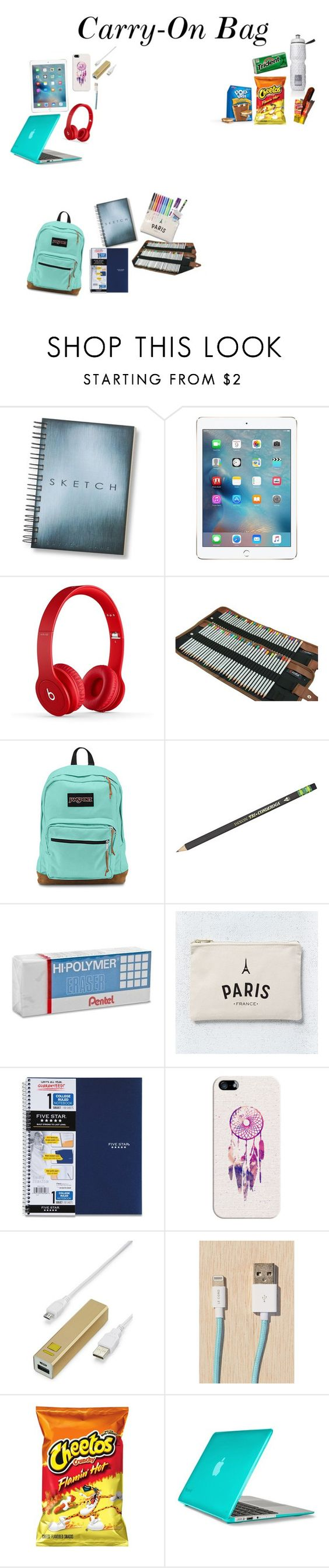 """""""Carry-On Bag"""" by queen26yassy on Polyvore featuring JanSport, Paper Mate, Pentel, West Elm, Casetify, LMNT, Le Cord, Victoria's Secret and Speck"""