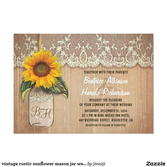 vintage rustic sunflower mason jar wedding