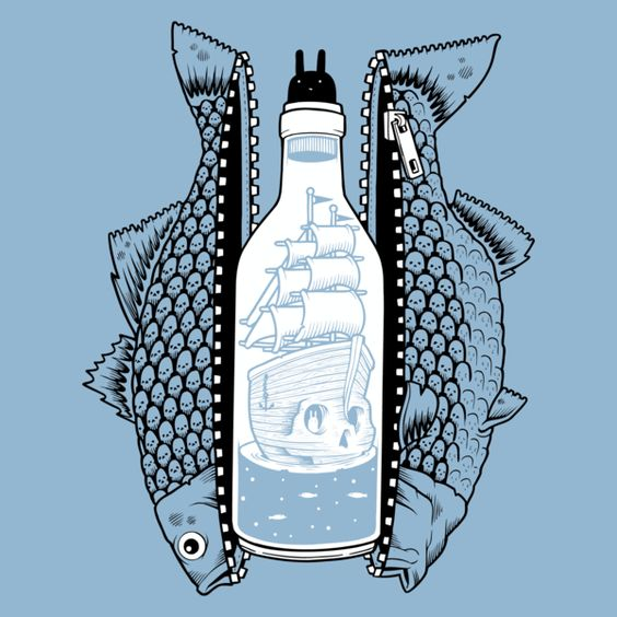 Classic Fit, 5.5oz 100% Cotton Men's T-Shirt in Blue There once was a tall sailing ghost ship trapped in a bottle that was swallowed by a fish.