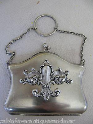 Antique Victorian Art Nouveau Silver ESPN French Fleur De Lis Card Case Purse
